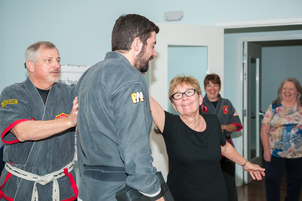 Connie goes for the ear in this self defense class for women