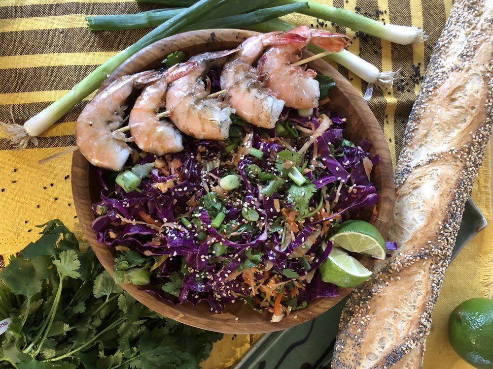 Kimchi Slaw - Toss 1 cup Alaska Kimchi with 2 cups shredded purple cabbage, chopped cilantro & a dash of sesame oil. Serve with grilled Alaska shrimp. Easy. Delicious. Local.