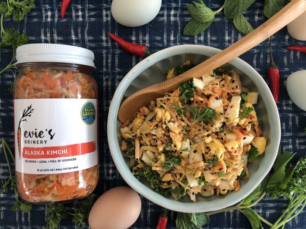 Kimchi Egg Salad - Spice it up! Hardboiled eggs, mayo, kimchi. Delicious.