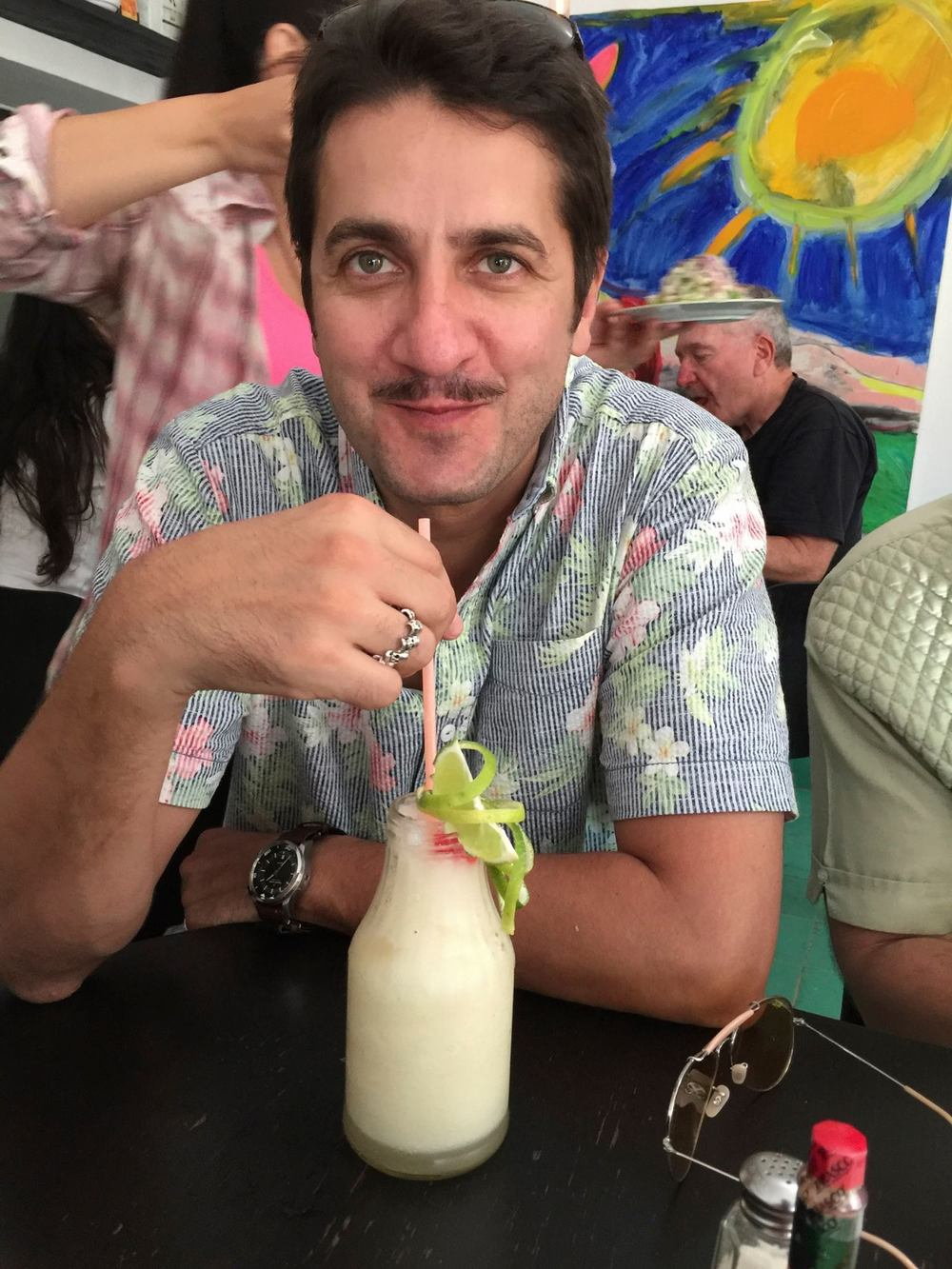 When Havana Club Rum is cheaper than water, the drinks were unbelievably good. Just 2 minutes after ridiculing Wiley for wanting a daiquiri, I switched to these lemon daiquiris which were probably the best drink of the entire vacation. And as for Emre, he pulled Cuba off in inspiring fashion. Look at that creepy mustache and floral print shirt. He's got CIA written all over him.