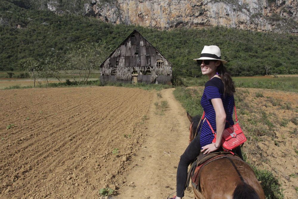 "Emily on horseback is a sight to see. Of course, no one told  Rebecca Minkoff  that her purses needed to endure a trot or gallup. Here she is approaching the ""house"" where farmers dry tobacco leaves."