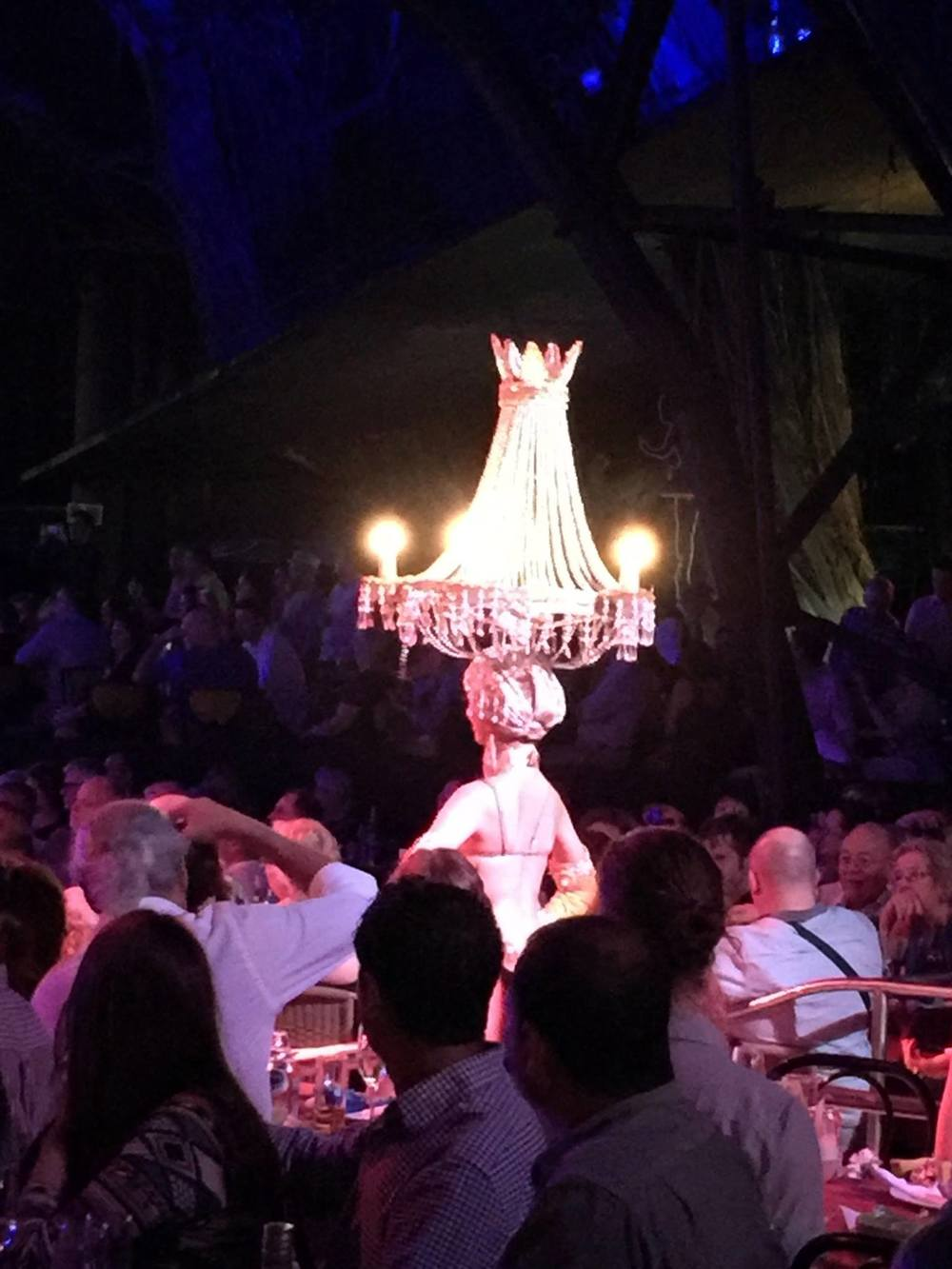 At the Tropicana, we saw garrish outfits, you know like when you need to go out in a dark place but want to be fancy - you must wear your favorite chandelier.