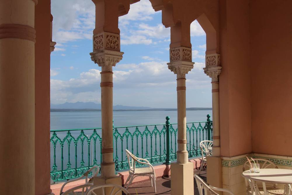 This is the view from a Spanish style house from an owner who wanted to bring some of the architecture of the Alhambra to Cuba. As beach towns go, Cienfuegos has fabulous views.