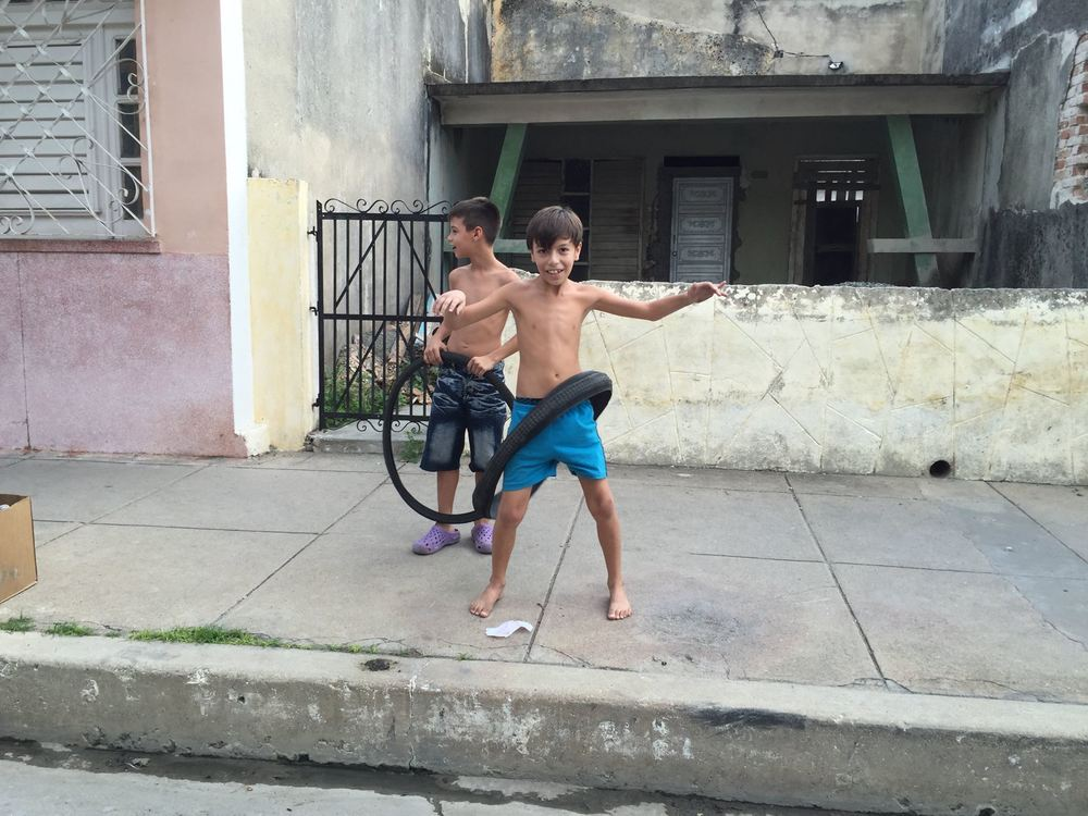 Poverty manifests in so many ways. The happiness of these kids hoola hooping with tires is emblematic of Cuba.