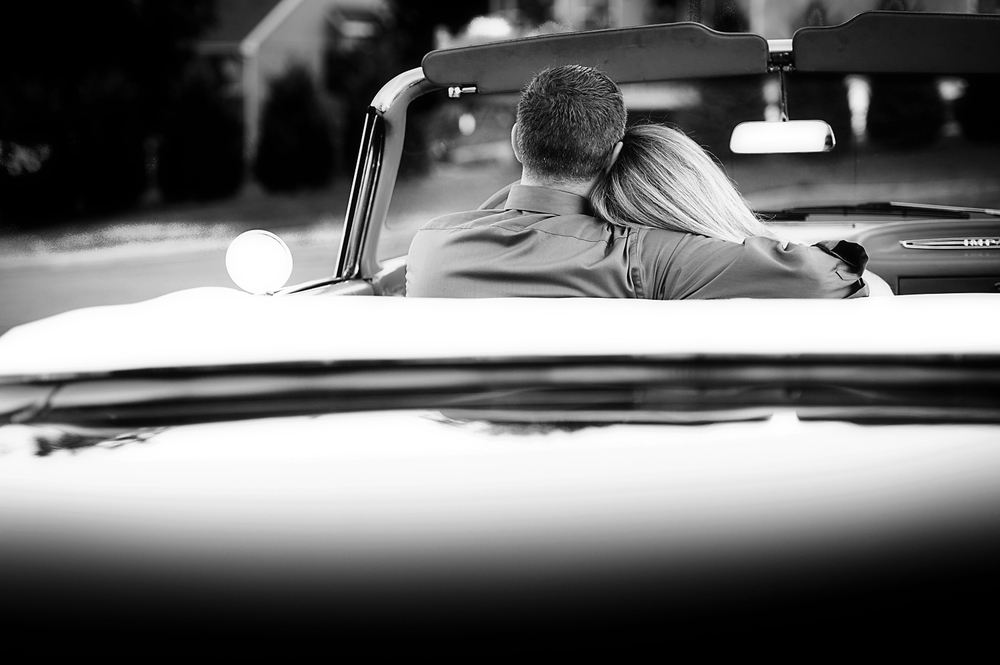 Old Chevy car engagement photos