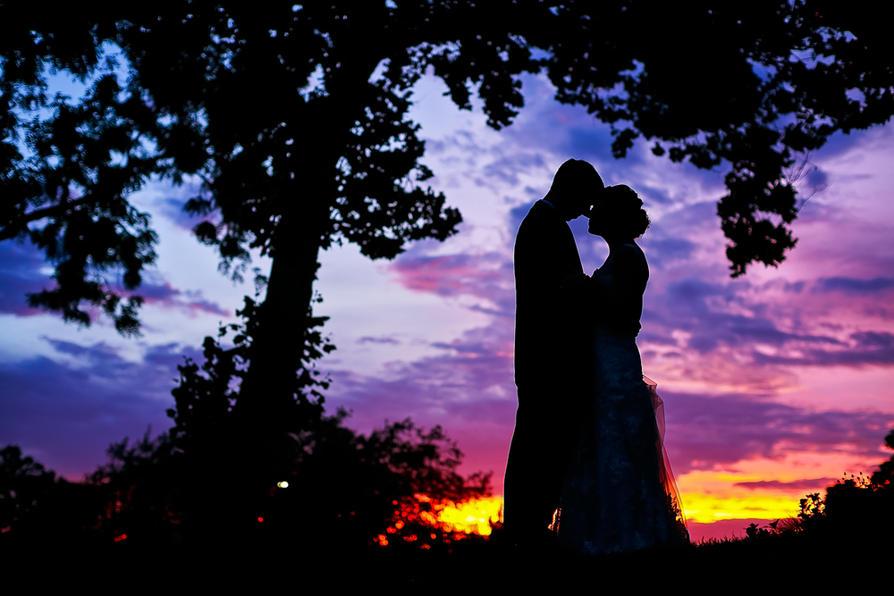 Sunset wedding picture in Topeka Kansas