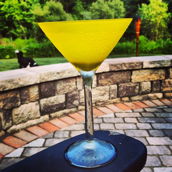 Martini, Plymouth gin, stirred while thinking smooth thoughts, dry as the dust under your bed, with a twist, served up or not at all. Yellow Ideasicle glass is optional.