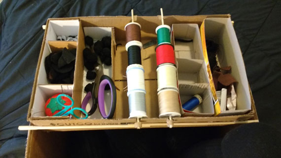 This box contains the basic spools of colour most commonly used and a few compartments for various parts that relate to the animals I'm working on. In this particular box are bear tails, ears and eyes.