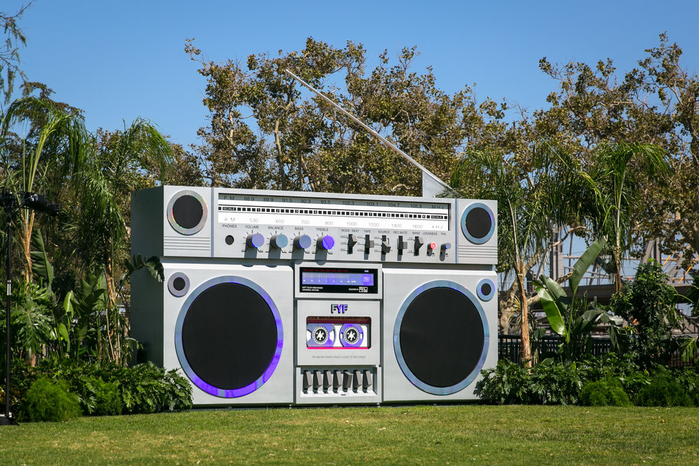 "Creative Direction & Design -  ""Rainbow Radio""  Boombox Installation, FYF Fest. 20 ft x 12 ft x 4 ft including audio and lighting.  (2017)"