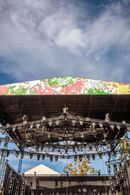 Lawn Stage - Vinyl banner scrim marbling,FYF Fest. 65 ft x 9.5 ft.(2017)