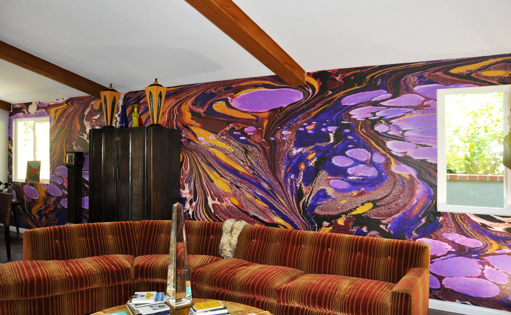 Marbled Mural Installation, Private Residence, Mount Washington, CA. 30 ft x 8 ft. (2017)