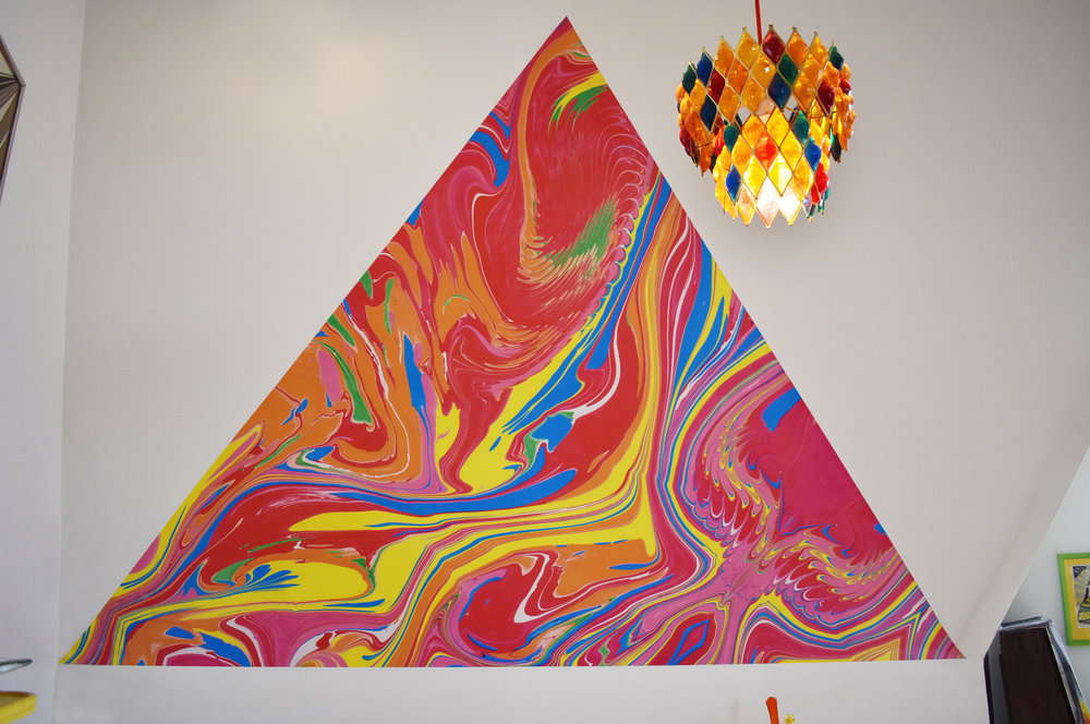 Marbled Mural Installation, Private Geodesic Dome Residence, Montecito Heights, CA. 9 ft x 6.5 ft. (2018)