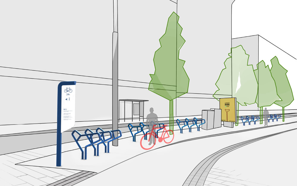 Bicycle rack concept illustration for Mikonkatu in Helsinki, Finland. 2016