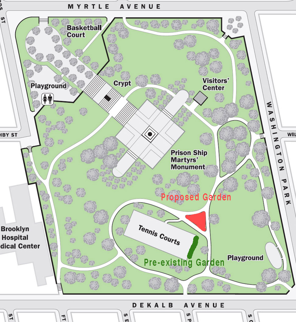 The Triangle - A garden in this area would be central and complimenting to the parks pre-existing infrastructure. It will be easily accessible from many directions and use an iconic boulder (which kids adore) at its center, as a key design feature.