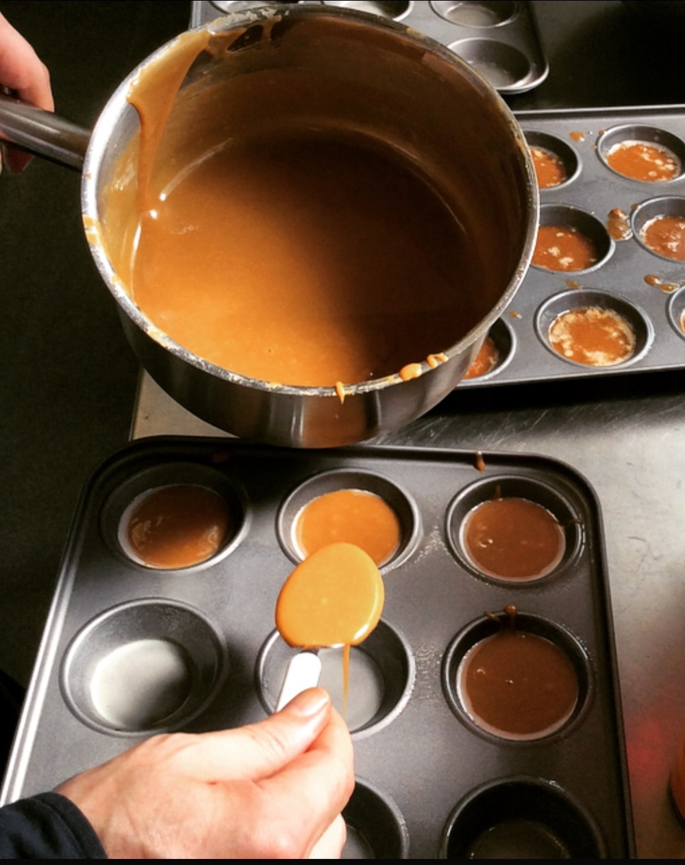 Pouring the fudge in to moulds