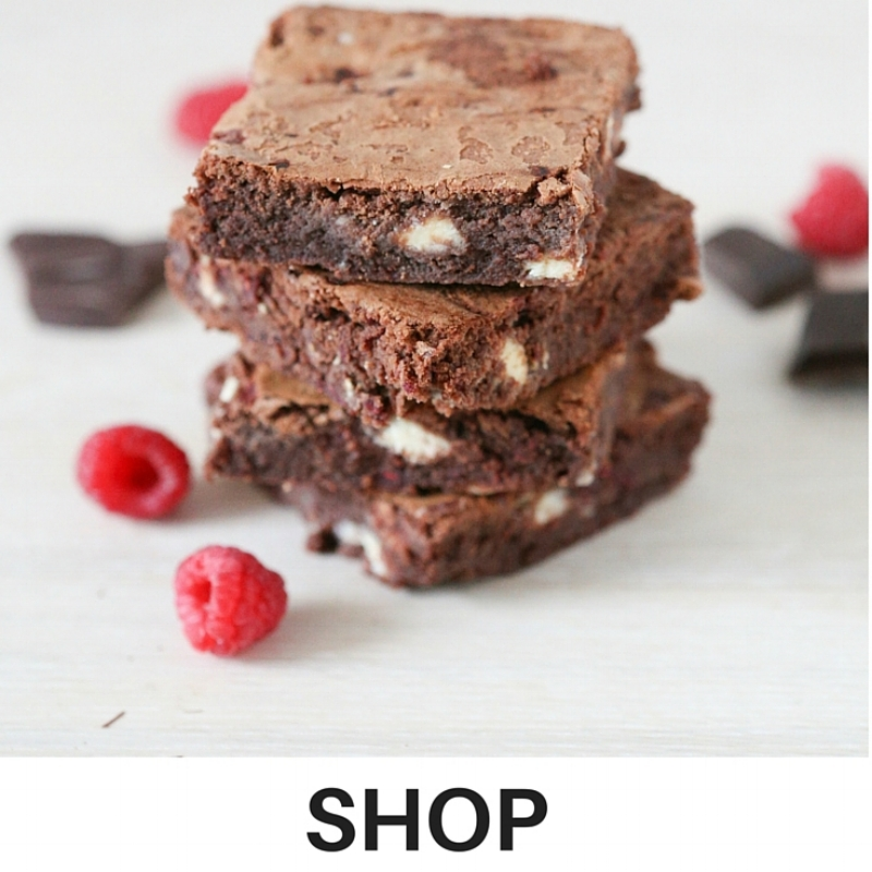 Our delicious white chocolate and raspberry brownie, available for gift and corporate orders