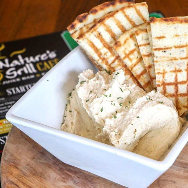 The perfect starter! Homemade Hummus w. Toasted Whole Wheat Pita!! DELISH! Join us for dinner tonight at Nature's Grill!! Your taste buds will not be disappointed!!