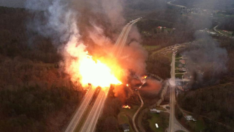a pipeline explosion along interstate 77 in west Virginia