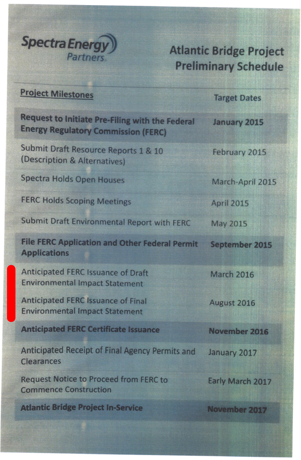 Spectra's 2015 flyer stating that an Environmental Impact Statement (EIS) would be issued in March 2016.