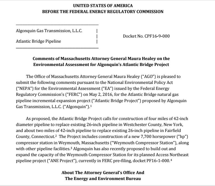 AG Letter to FERC