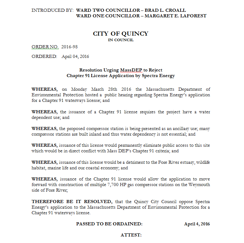 Quincy Waterways Resolution - 2016