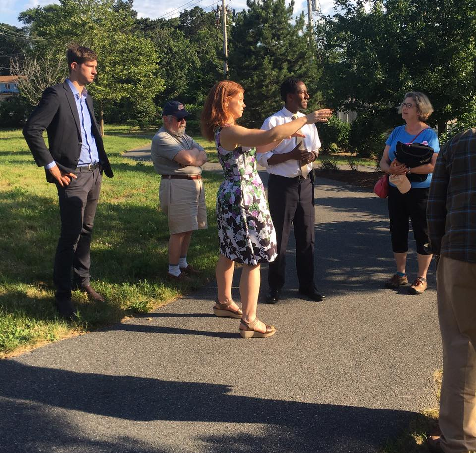 Councilor Haugh and folks from FRRACS giving Mayor Warren a tour of the proposed site. Photo credit: Becky Haugh