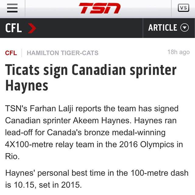 Super excited to announce that my guy @underdogakh has signed with the @hamiltontigercats for this upcoming CFL season!!! Proud to be part of his team and anxious to see him on the field!!!! #football #cfl #football2018 #pro #nextlevel #dontskipthework #speed #agility  #strength #strengthtraining #strengthandconditioning #conditioning #yyc #yycbuzz #yycfit #yycfitmom #evolved #athlete #sports #sport #tsn