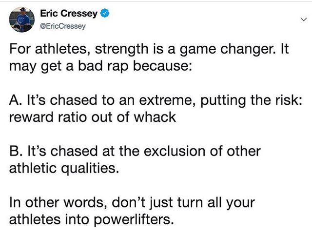 Great post by @ericcressey pointing out how important program design is. Don't just get your athletes to move well, make them strong, but they also need to move, balance is key!!! #athletics #athlete #athletes #strength #strengthandconditioning #strong #speed #agility #power #yyc #yycfit #yycfitness #development #alberta #canada #planning #dontskipthework