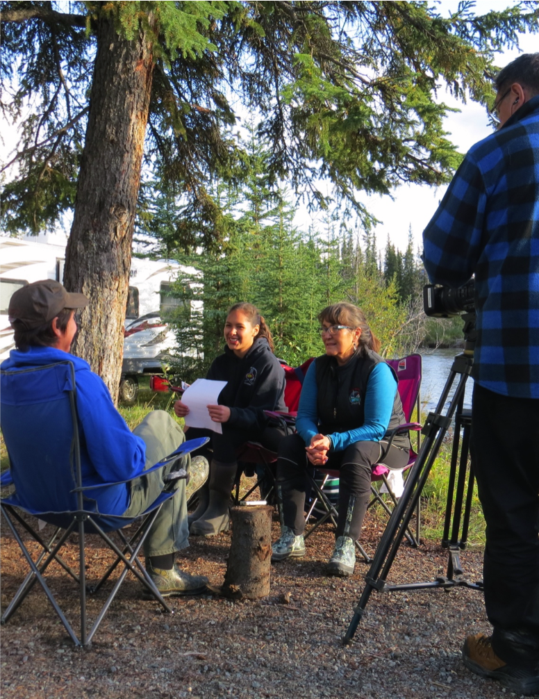 Kluane First Nation youth, along with Norma Kassi, lead Community-Based Researcher at AICBR deliver key-informant interview as part of the  Nourishing Our Future Project .