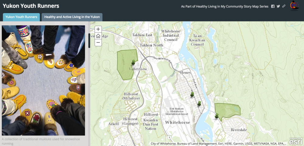 This is a story map created by Tess Casher, a Yukon youth in grade 12 at Pearson College [Victoria], about her experience with the Yukon Youth Runners program in Whitehorse.