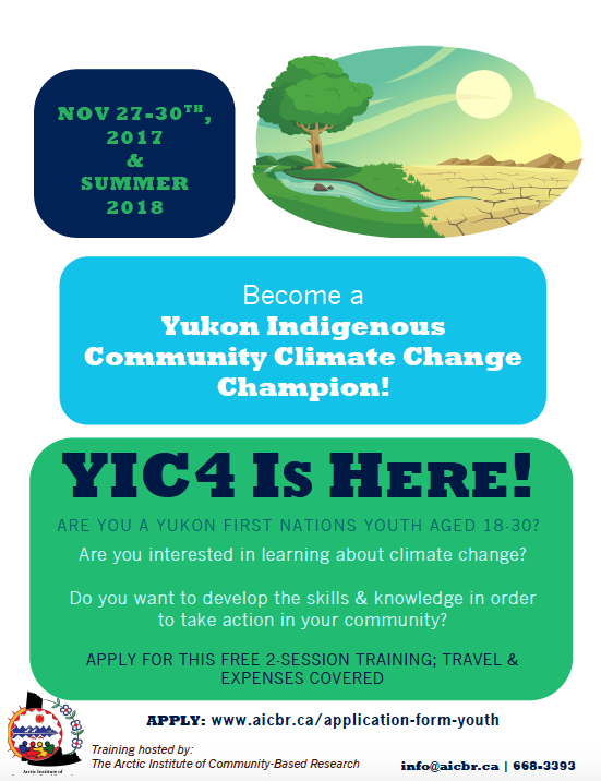 Attention all Yukon First Nations Youth! We're hosting a training to develop community climate change champions and are currently recruiting interested participants. Check out our website to learn more and apply!