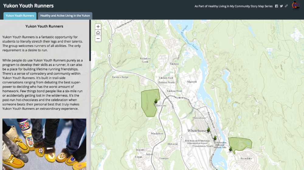 This story map is part of our  Healthy Living in My Community Project , which aims to celebrate and promote healthy living in Yukon communities. The story map was created by a grade 12 youth about her experience with the Yukon Youth Runners program in Whitehorse.