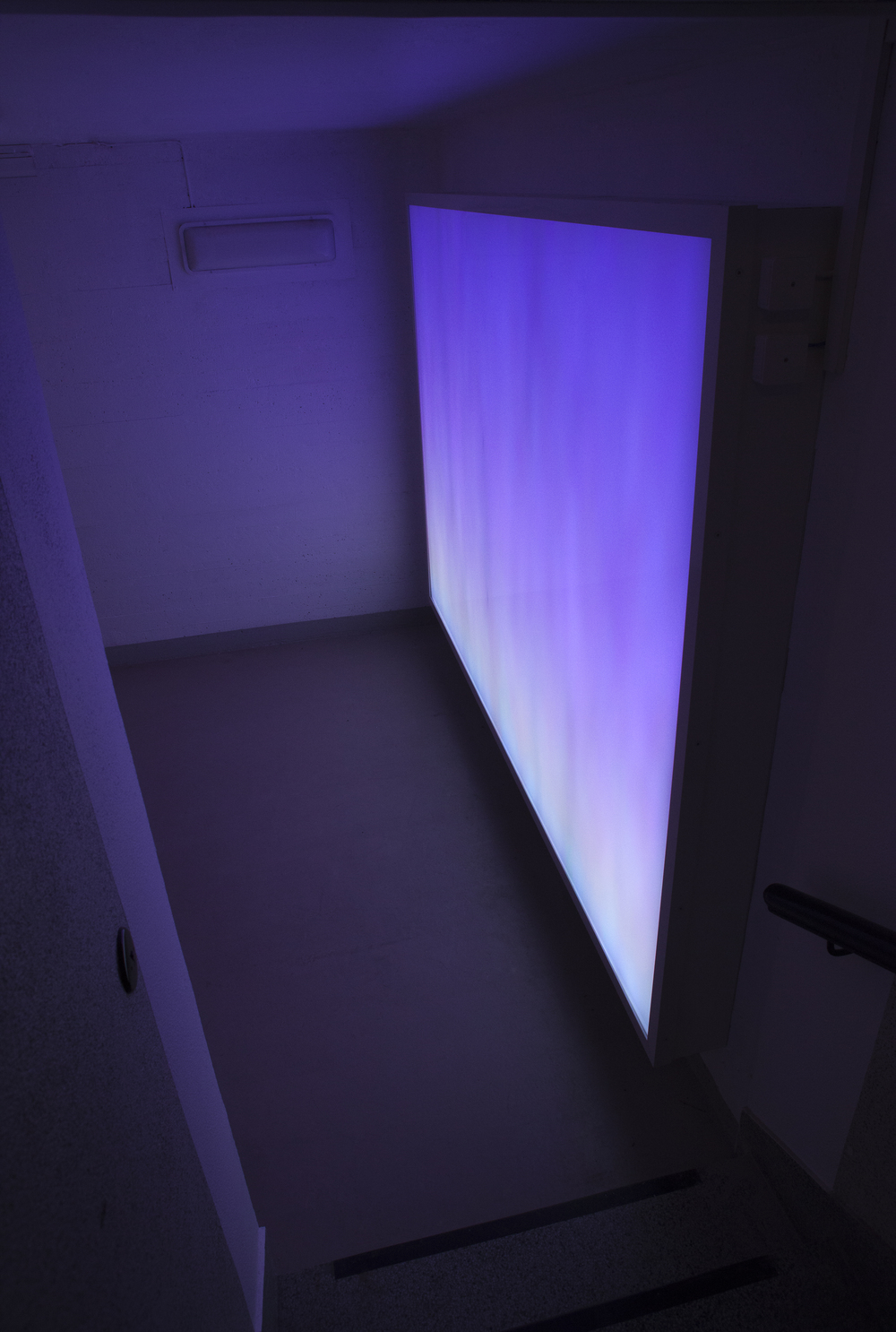 Horizon . Ila Prison, 2011. Light mode: Sunday morning. Programmed light box with LED screen, aluminum case with acrylic and Lexan fronts, 200 x 300 x 30 cm.