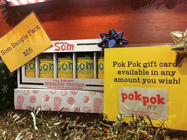 Last minute gift ideas @pokpokny !  At home drinking vinegars with @pokpoksom sampler packs!  Open today until 10pm.  #pokpokny #holidays #tistheseason #pokpoksom #drinkingvinegar #soda #giving #gifts #giftideas