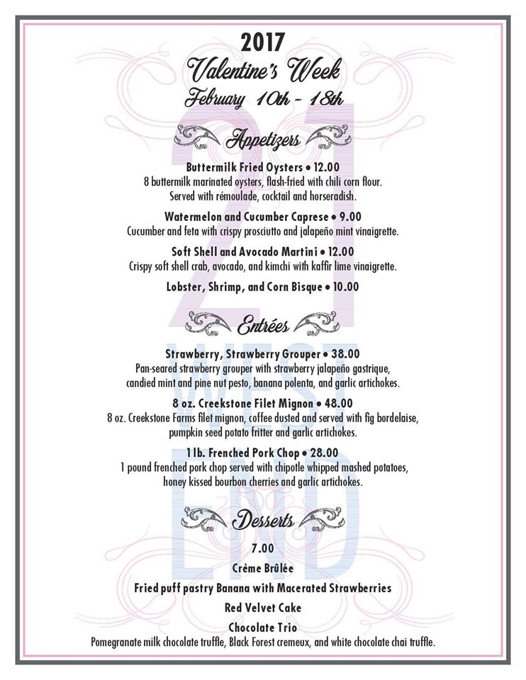 21 West End Valentines Day Menu