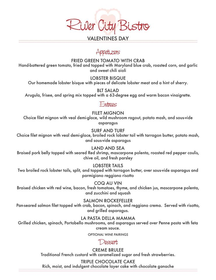 River City Bistro Valentine's Day Menu