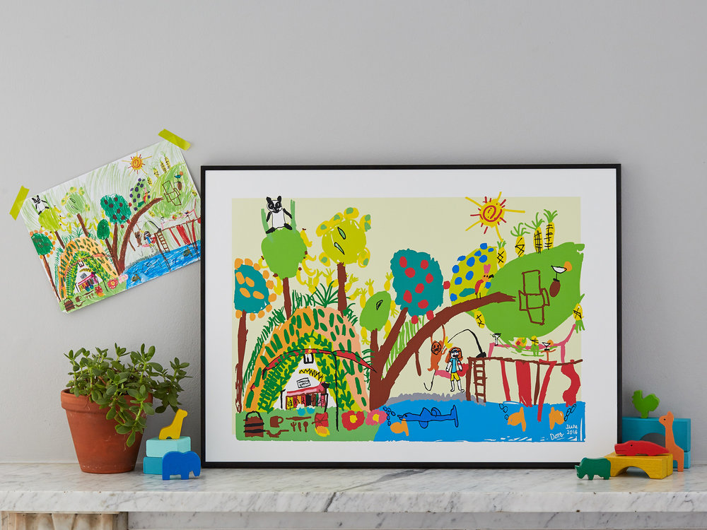 Your child's drawing transformed into art (large size/ complexity: jungle). Example shows 50 x 70 cm print