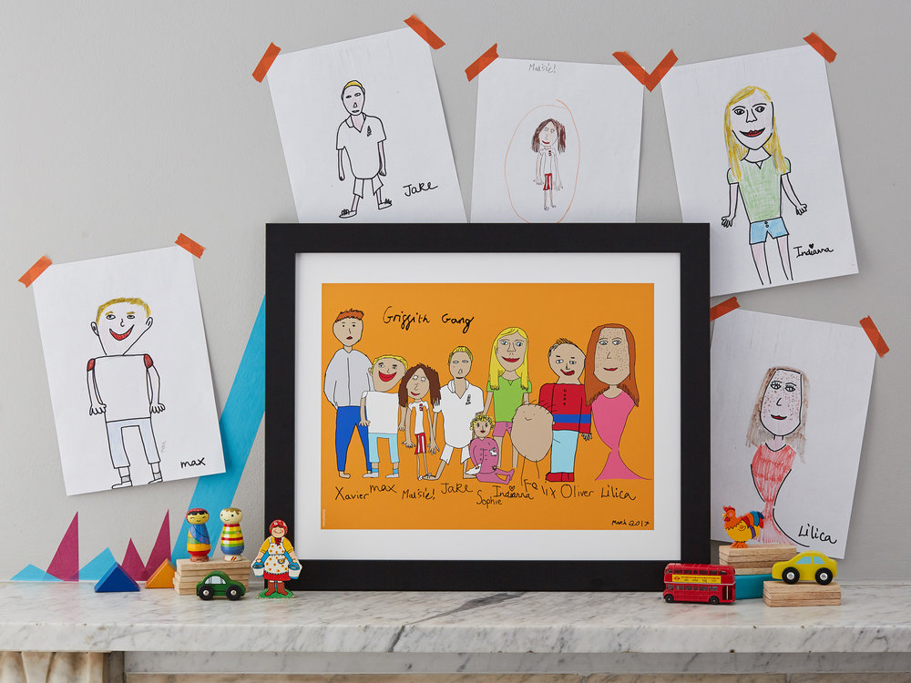 Extended family portrait drawn by your own child. Example shows 50 x 70 cm (9 people) print with frame at £377 (without a frame £296)