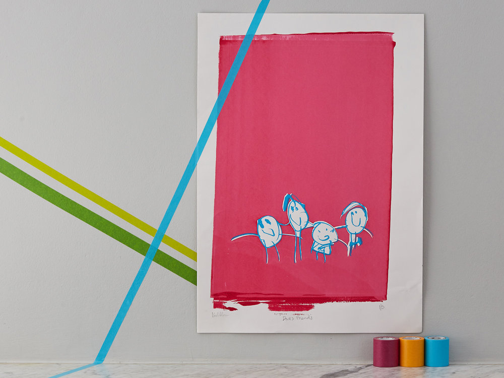The first ever Junior Masterpiece drawn by Dora, 3 at the time, turned into a screen print.