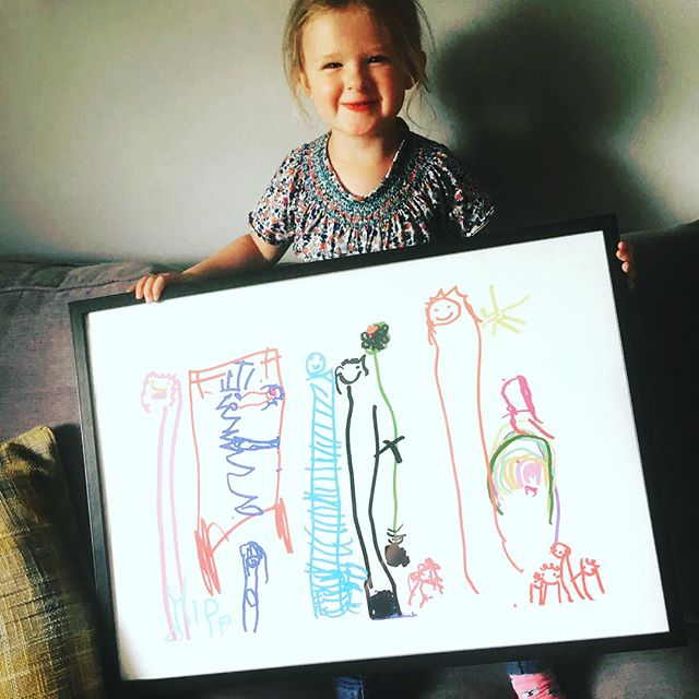 I love getting pictures of the artist and their masterpiece! This is one of our younger artists! She did an amazing print and is an prolific drawer in every day life. Keep it up Dolly!
