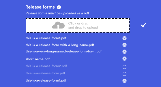The filmmaker can upload as many documents as wanted, and the list will stretch. A loading indicator was added to show progress on larger files, and a delete option to get rid of unwanted documents.