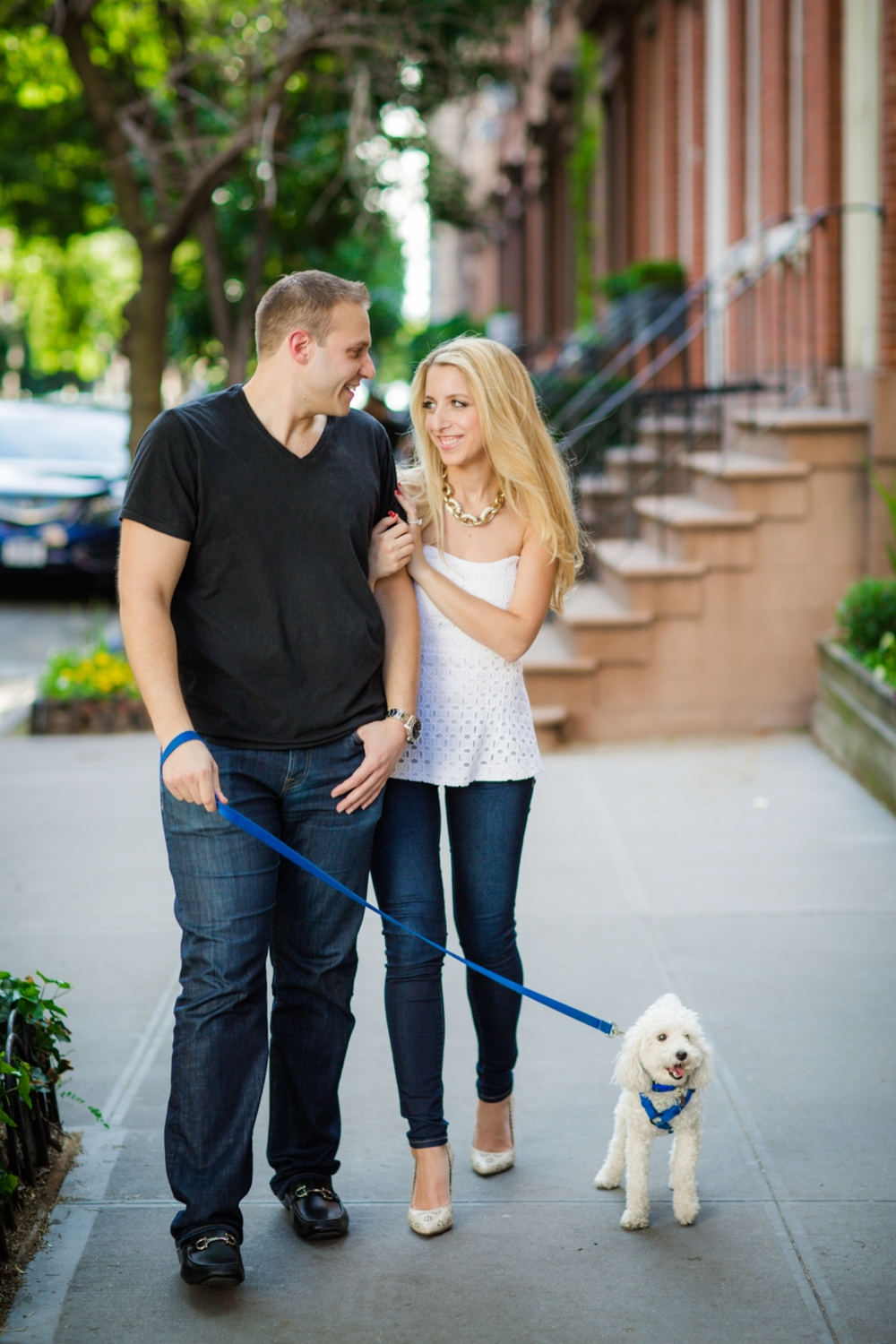 Elana and Marc with their dog Arri during their Meatpacking Engagement shoot.