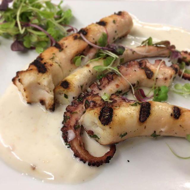 Charred Octopus will be one of this week's tasty specials. #breezypointinn #lakesidedining