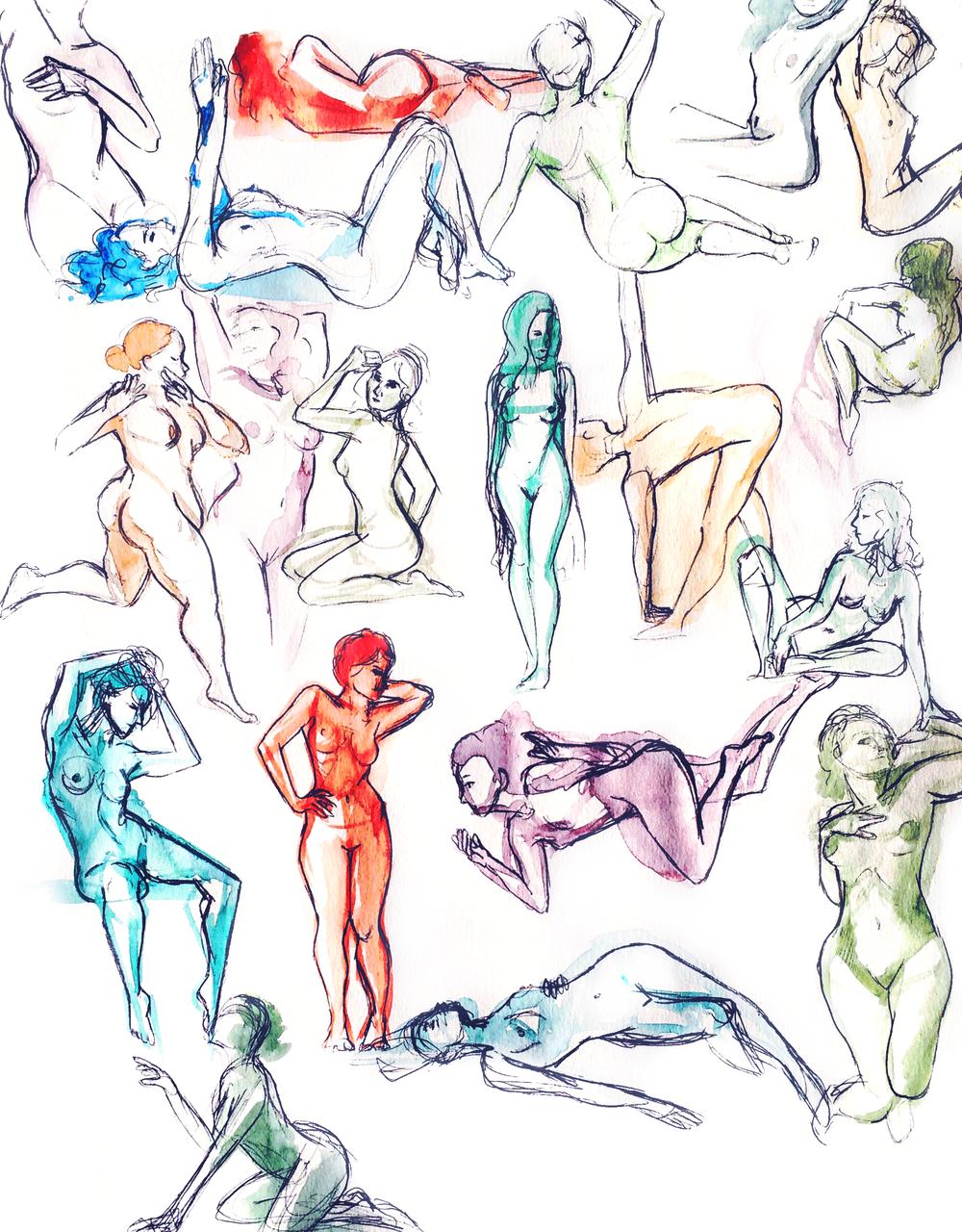 Pen & watercolour; 2-5 minutes each.