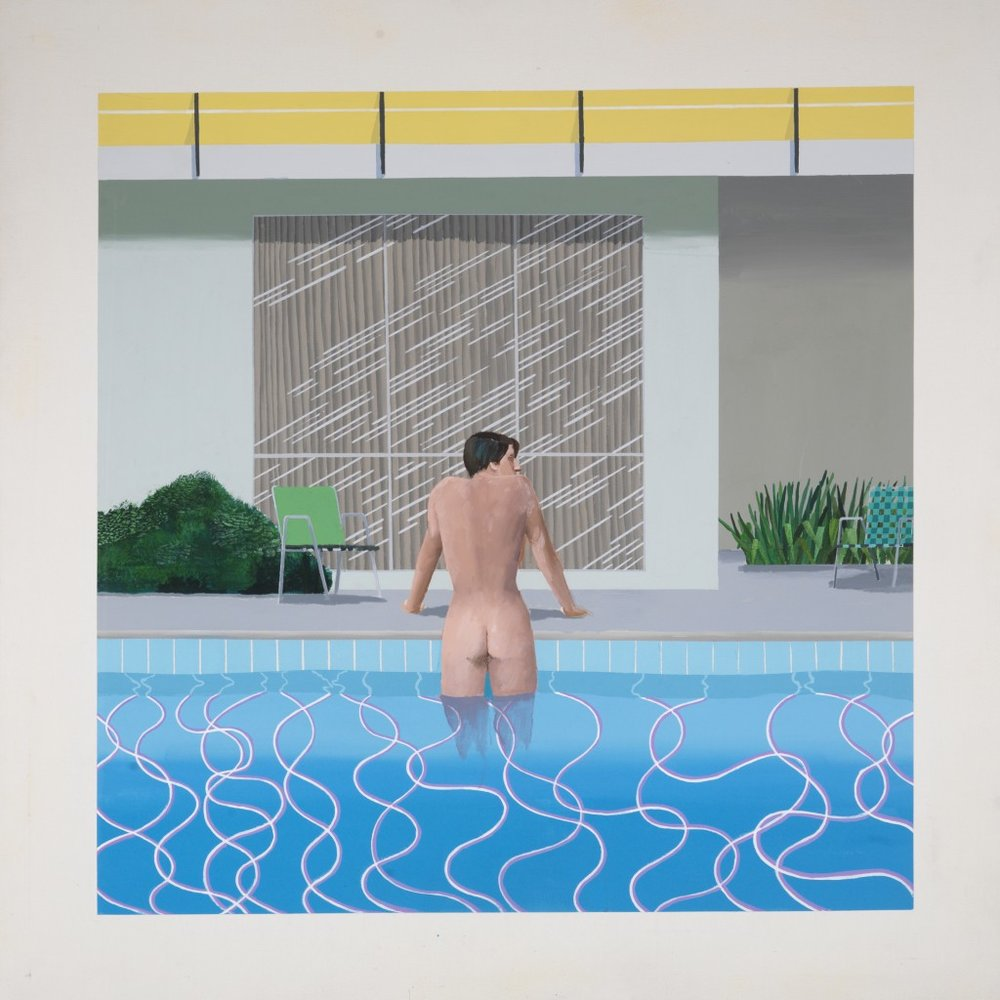 David Hockney, 'Peter Getting Out of Nick's Pool', 1966. National Musuems Liverpool, Walker Art Gallery. Courtesy of Tate Britain.