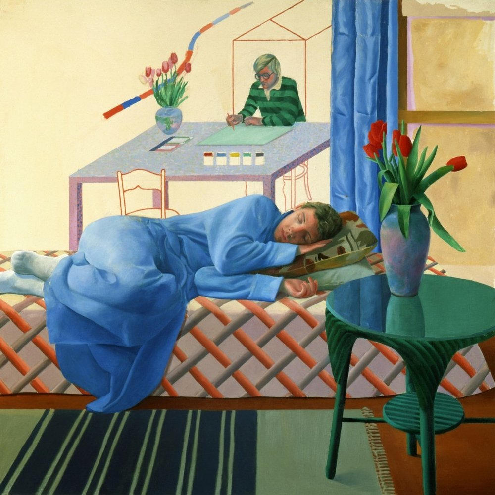 David Hockney, 'Model with Unfinished Self Portrait', 1977. Private collection c/o Eykyn Maclean. Courtesy of Tate Britain.