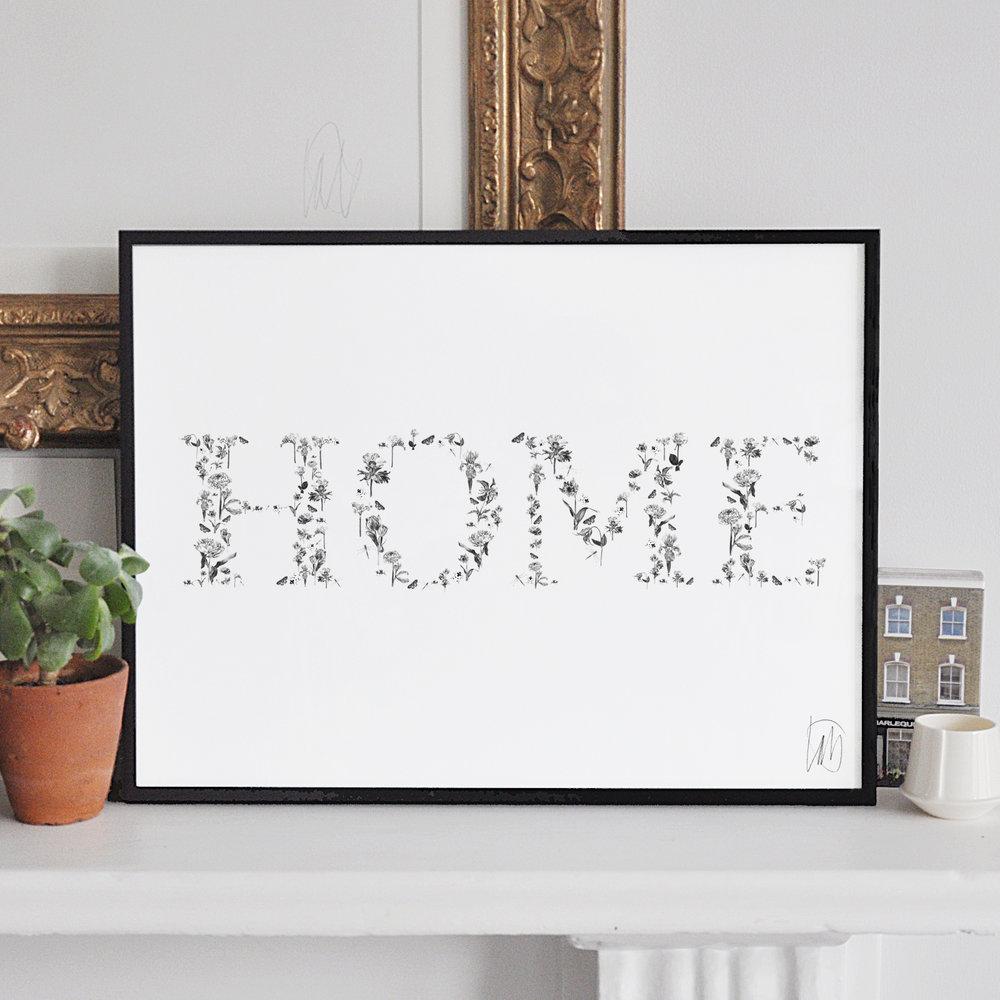 Home in a thin black aluminium frame.