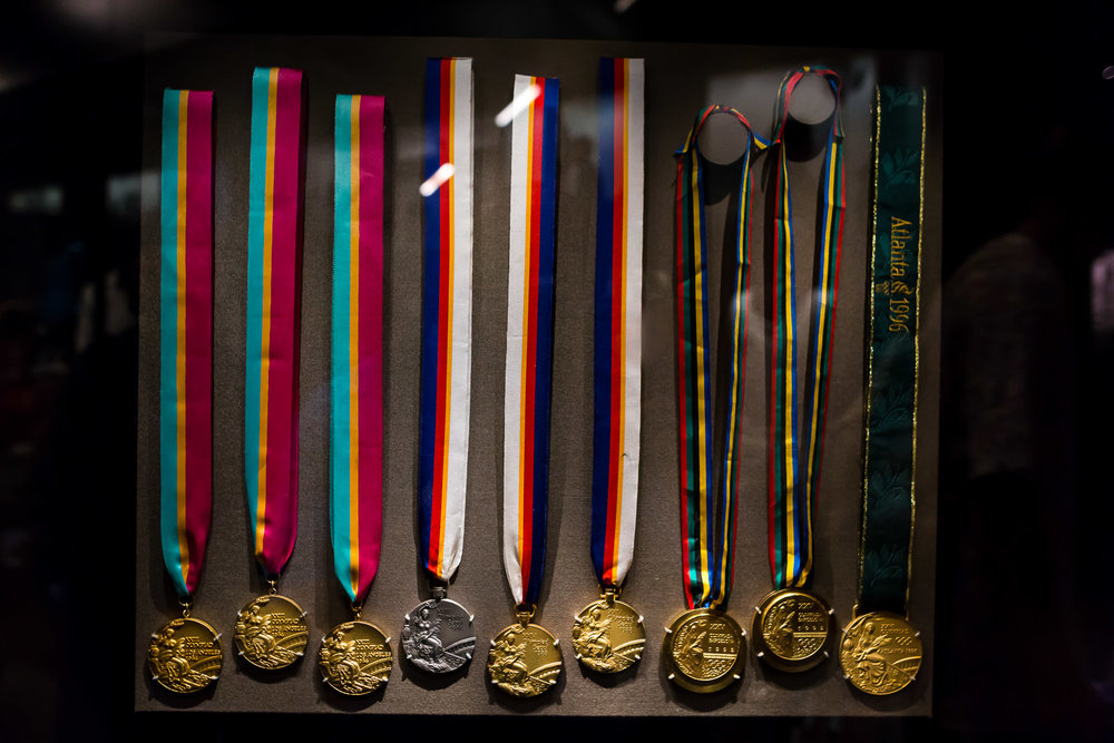 Nine of Carl Lewis' ten Olympic medals. He had the first one buried with his father.