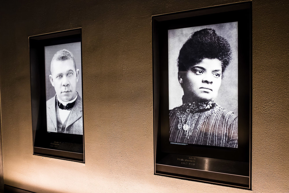 Left to right: Booker T. Washington, Ida B. Wells.