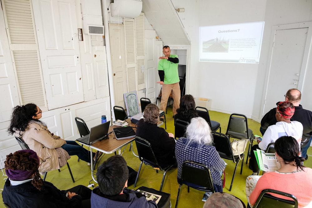 Workshop on the basics of composting, led by Veteran Compost.